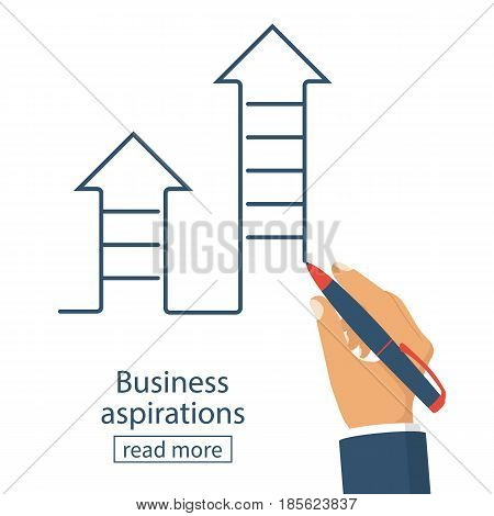 Business aspirations concept. Success achievement. Way Up. Pen in hand draw a ladder ascending. Vector illustration flat design. Isolated on white background. Motivation to achieve the goal.