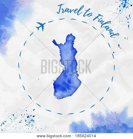 Finland Watercolor Map In Blue Colors. Travel To Finland Poster With Airplane Trace And Handpainted