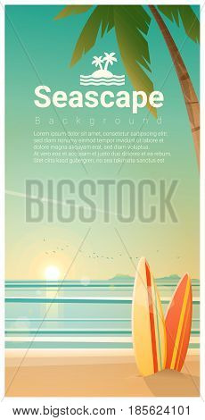 Seascape background with surfboards on the beach , vector , illustration
