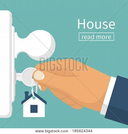 Insert the key into the keyhole. Open the doors. Real Estate concept, template for sales, rental, advertising. Sign on the home. Vector illustration flat design.