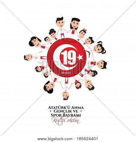 vector illustration 19 mayis Ataturk'u Anma, Genclik ve Spor Bayramiz , translation: 19 may Commemoration of Ataturk, Youth and Sports Day, graphic design to the Turkish holiday, children logo.