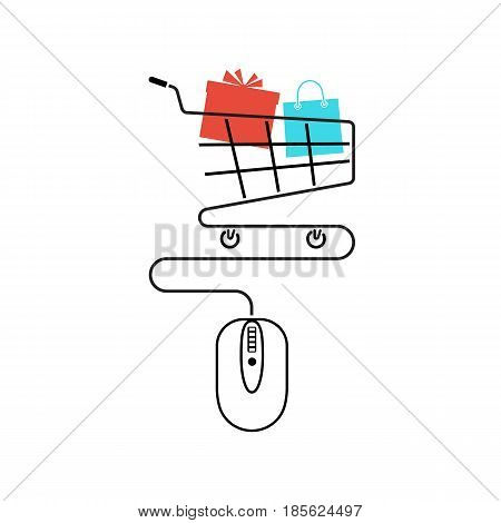 Vector illustration flat line minimal design. Online shopping concept. Computer mouse connect to basket. Modern technology e-shopping. Purchases in internet. E-commerce. Gift in trolley.