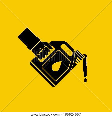 Replacement motor oil icon. Car mechanic hold canister of motor oil silhouette, isolated on background. Station service maintenance. Lubrication engine and mechanisms. Vector pictogram flat design. poster