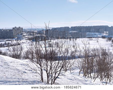 The view of Murmansk city ,Russia from Alyosha Monument