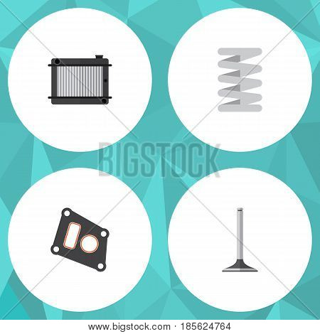 Flat Parts Set Of Gasket, Heater, Crankshaft And Other Vector Objects. Also Includes Gasket, Segment, Crankshaft Elements.