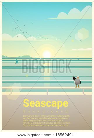 Seascape background with sea view in the morning , vector , illustration