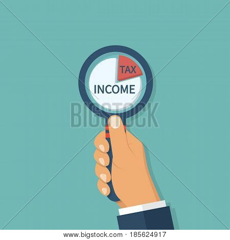 Man is looking at a cake holding a magnifying glass in hand. Difference profits and taxes. Financial Accounting. Profit statistics graph. Vector illustration flat design. Isolated on white background.