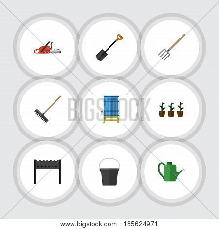 Flat Dacha Set Of Harrow, Barbecue, Container And Other Vector Objects. Also Includes Watering, Fork, Harrow Elements.