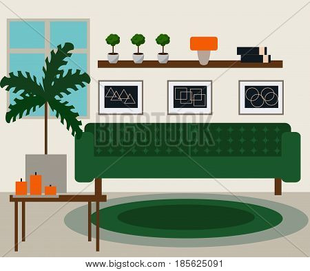 Living room vector illustration. Modern stylish living room flat design.