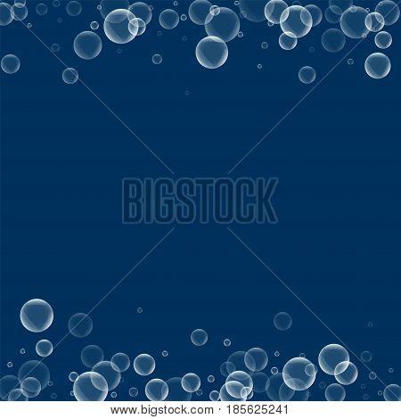 Random Soap Bubbles. Borders With Random Soap Bubbles On Deep Blue Background. Vector Illustration.