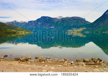 Mountains And Lake In Norway,