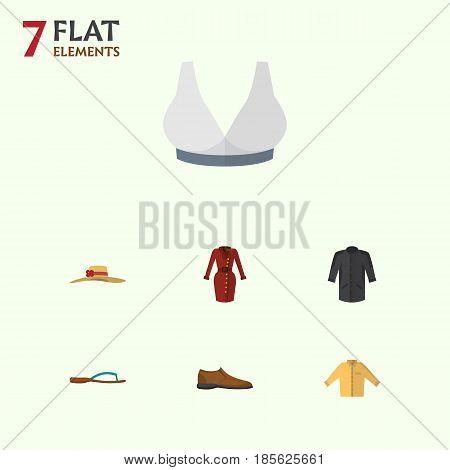 Flat Dress Set Of Elegant Headgear, Beach Sandal, Brasserie Vector Objects. Also Includes Woman, Dress, Uniform Elements.