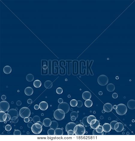 Random Soap Bubbles. Scatter Bottom Gradient With Random Soap Bubbles On Deep Blue Background. Vecto