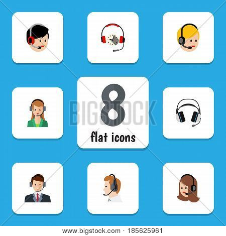 Flat Telemarketing Set Of Headphone, Service, Hotline And Other Vector Objects. Also Includes Earphone, Secretary, Online Elements.