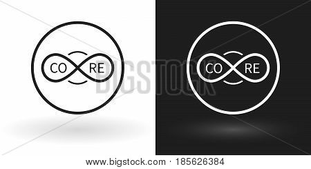 Creative core icon using the sign of infinity in white and black version. Can be used in digital innovation, marketing, programming, management, and also for infographics