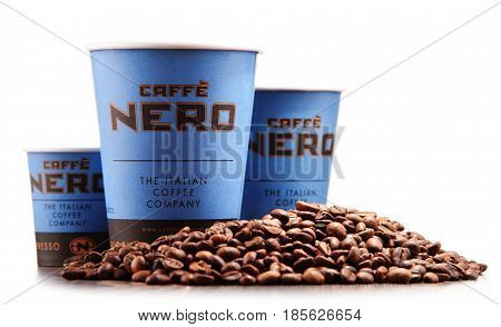 Composition With Cups Of Caffe Nero Coffee And Beans