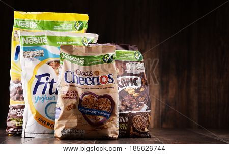 Four Packages Of Nestle Breakfast Cereals