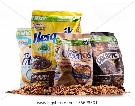 Four Packages Of Nestle Breakfast Cereals Isolated On White