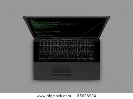Black modern laptop from above with shadow on gray background. Wireless computer monitor keyboard. Code on the screen