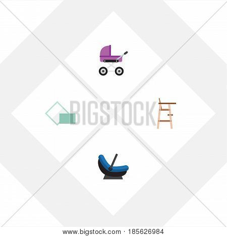 Flat Infant Set Of Napkin, Pram, Stroller And Other Vector Objects. Also Includes Baby, Cradle, Chair Elements.