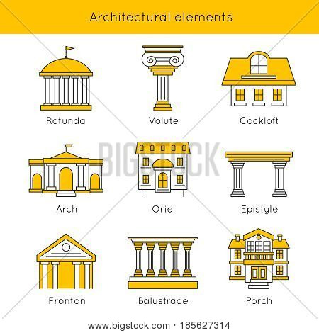 Architectural elements icon set with descriptions of rotunda volute arch oriel epistyle fronton porch vector illustration