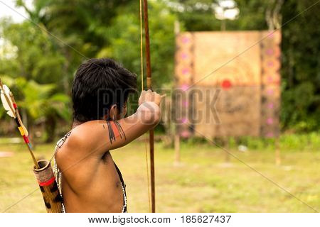 Man from Tupi Guarani tribe with bow and arrow, Brazil