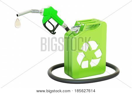 jerrycan with bio fuel and gas pump nozzle 3D rendering isolated on white background
