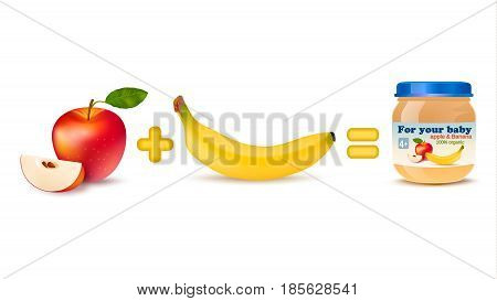 Isolated realistic images of red apple and banana shown as ingredients for high nutrition baby food in a can vector illustration