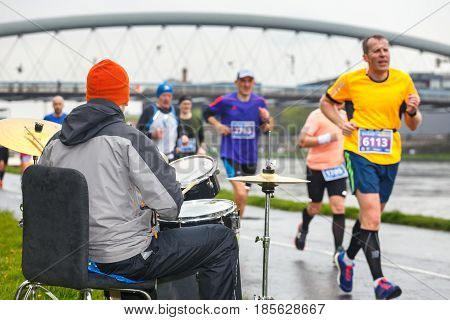 Krakow, Poland - April 30, 2017: Unidentified Drummer Supporting Runners During  16 Cracovia Maratho