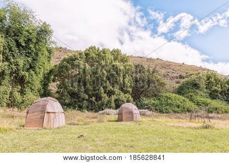 Khoi huts at the mission in Genadendal. Genadendal is the first mission station in South Africa founded 1738