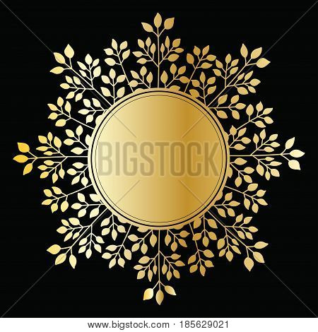 Vector hand drawn gold round frame in wreath shape with twigs and leaves. Gold vintage card on black background