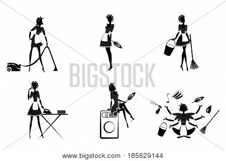 Monochrome housekeeping set with maids cleaning home and different household tools and equipment isolated vector illustration