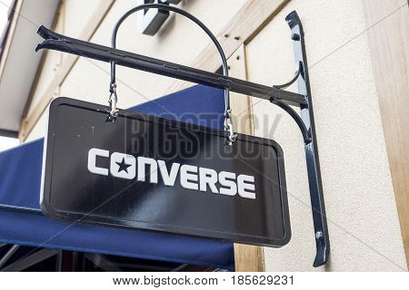 Roermond Netherlands 07.05.2017 - Logo of the Converse clothes Store in the Mc Arthur Glen Designer Outlet shopping area