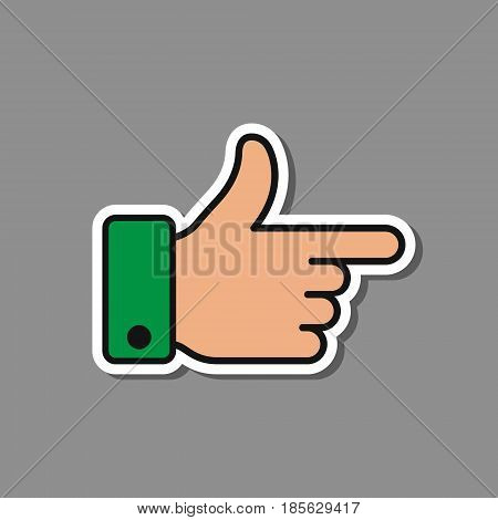 Gesture hand with pointing forefinger vector illustration isolated on grey background.