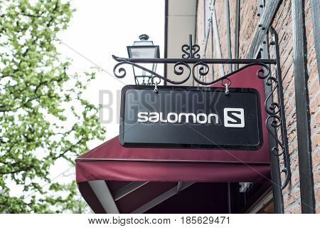 Roermond Netherlands 07.05.2017 - Logo of the Salomon sports Store in the Mc Arthur Glen Designer Outlet shopping area