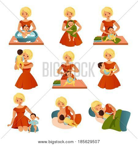 Happy motherhood collection with cheerful mother in red dress taking care of her son in different situations isolated vector illustration