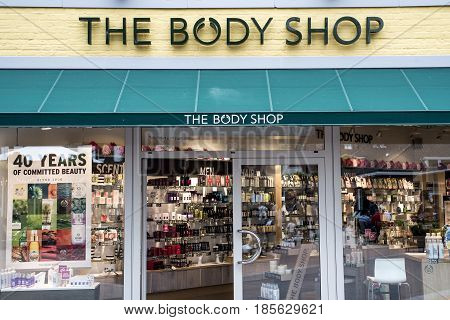 Roermond, Netherlands 07.05.2017 - Logo of The Body Shop Store Mc Arthur Glen Designer Outlet shopping area
