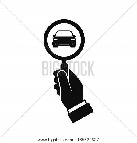 Looking for car icon hand hold magnifying glass search car vector logo illustration.