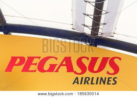 Lyon, France - March 21 2017: Pegasus Airlines logo on a wall. Pegasus Airlines is a Turkish low-cost airline