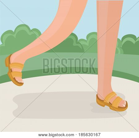 Vector cartoon illustration of legs of walking person. Foots in slipper on parks lane in summer. Feet shod in flip-flops walking on Park path