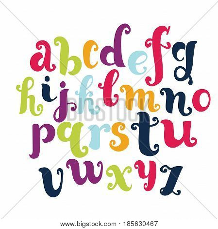 Vector cartoon funny english alphabet. Modern calligraphy font. Vector letters isolated and easy to use. Latin alphabet. Educational poster.