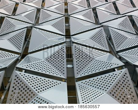 metal angular cladding on geometric modern steel building