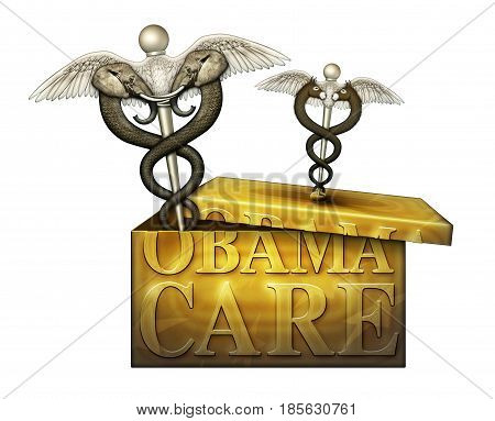 Obamacare Box With Political Medical Symbols - 3D Illustration