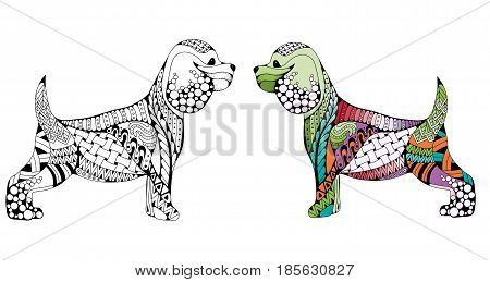 Zentangle stylized cartoon Cocker Spaniel dog isolated on white background. Hand drawn sketch for adult antistress coloring page T-shirt emblem logo or tattoo with doodle zentangle design elements. Colored and monochrome variations