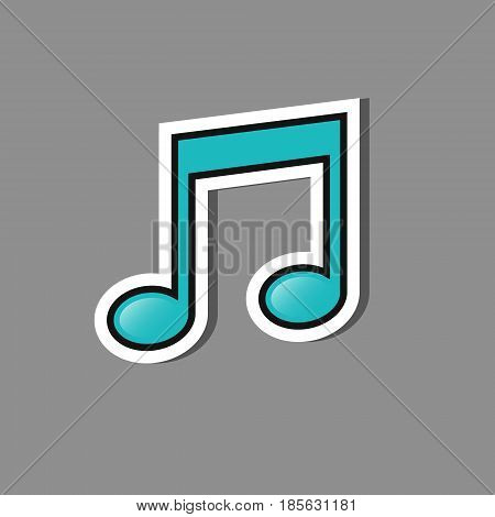 music note icon on sticker style vector isolated paper label.