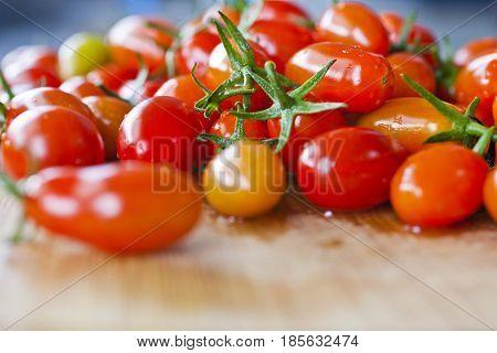 Ripe red fresh home grown cherry tomatoes