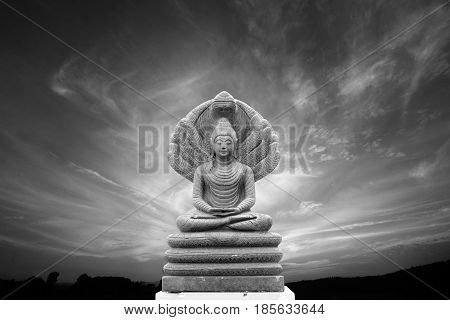 Black and white view Outdoor beautiful stone Buddha Image covered with seven heads of Naka (Great Snake) and panorama view of evening sky at Wat Phuket Nan Thailand.