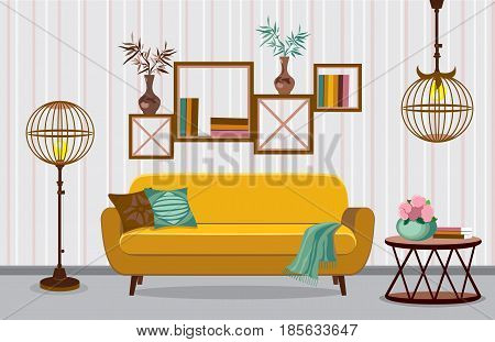 Interior living room. Vector illustration in flat design with shadows. House furniture. Cartoon background. Interior with ethnic motif