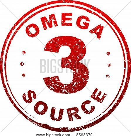 Red grunge style rubber stamp Omega 3 source.