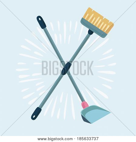 Vector cartoon illustration of cleaning service elements. Cleaning supplies. Housework tools. Garbage, dustpan and brush arranged crosswise. Template for banners, web sites, printed materials, infographics